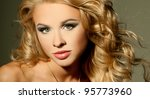 luxurious blonde with curly hair | Shutterstock . vector #95773960