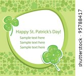 Saint Patrick's Day. Card with green clover background. Vector Illustration. - stock vector