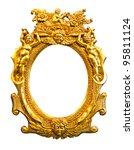 golden sculpture frame isolated with clipping path - stock photo
