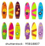 surf board vector set   Shutterstock .eps vector #95818807
