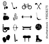 Sports and leisure equipment icon set - stock vector