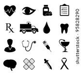 Health and medical icon set in black - stock vector