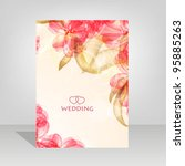 wedding card or invitation with ... | Shutterstock .eps vector #95885263