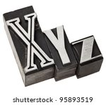 Small photo of xyz - three last letters of alphabet (or Cartesian coordinates system) in vintage letterpress metal type