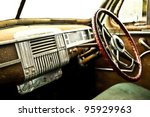 Grunge and hight rusty elements of old luxury car. - stock photo