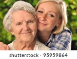 grandmother and granddaughter.... | Shutterstock . vector #95959864
