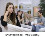 jealousy or lovesickness  woman ... | Shutterstock . vector #95988853