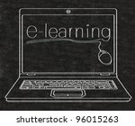 e learning written on computer screen on blackboard - stock photo