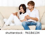 beautiful young couple conflict ... | Shutterstock . vector #96186134