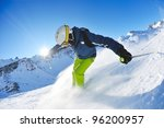 skier skiing downhill on fresh... | Shutterstock . vector #96200957