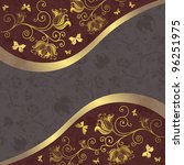 Gold And Purple Gray Floral...