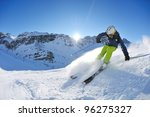 skier skiing downhill on fresh... | Shutterstock . vector #96275327