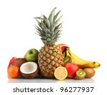 Tropical Fruits Isolated On...