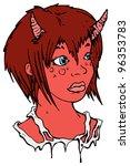 pretty devil girl cartoon | Shutterstock . vector #96353783