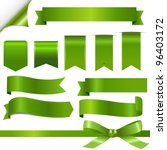 Green Ribbons Set  Isolated On...