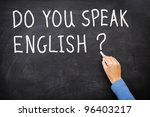 Small photo of Learning language - English. Blackboard education concept saying Do You Speak English? written on Chalkboard.