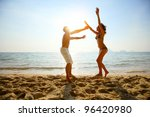 young couple having fun on a... | Shutterstock . vector #96420980