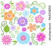 flowers colorful sketchy... | Shutterstock .eps vector #96424850