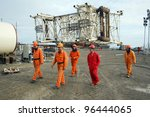 SANGACHAL, AZERBAIJAN  - OCT 29: Roughnecks and engineers build oil platforms in Sangachal, Azerbaijan, on Saturday, October 29, 2006. - stock photo