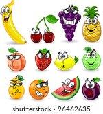 cartoon orange  banana  apples  ... | Shutterstock .eps vector #96462635