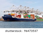 container ship in the harbor of ... | Shutterstock . vector #96473537