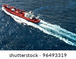 Container / cargo ship aerial view - stock photo