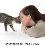 young woman with her cat - stock photo