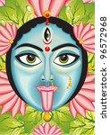 kali   indian goddess face ... | Shutterstock .eps vector #96572968