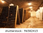 Row of bottle collection wine - stock photo