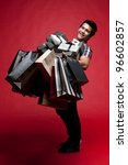 asian shopping with bags and... | Shutterstock . vector #96602857