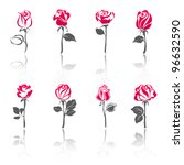 Stock vector roses set icons with reflection 96632590
