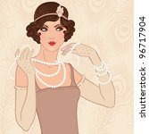 Retro party invitation design with  a flapper girl  (20's style) - stock vector
