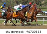 "ARCADIA, CA - MARCH 3: Jockey Martin Garcia pilots ""Stirred Up"" (nose in front) to his first win at Santa Anita Race Track on March 3, 2012 in Arcadia, CA. - stock photo"
