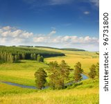 hills summer landscape in Russia Ural - stock photo