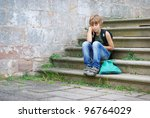 portrait of a boy outdoors - stock photo