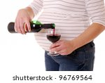 expectant mother with wine - stock photo