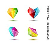 business design geometric shine crystal elements ( icon ) set for print and web. vector - stock vector