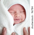 Baby after bathing - stock photo
