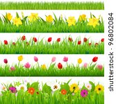 Flower Borders Set  Vector...