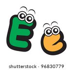 illustration of funny cartoon alphabet font type character for educational - stock vector