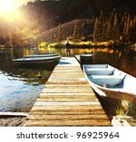 Stock photo autumn lake 96925964