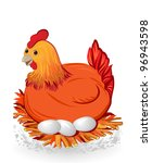 nice red hen sitting on eggs - stock vector