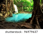 erawan waterfall  beautiful... | Shutterstock . vector #96979637