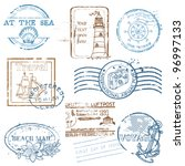Vector Set Of Retro Sea Stamps...