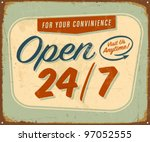 Vintage Metal Sign   Open 24 7...