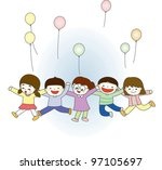 playing young children with... | Shutterstock .eps vector #97105697
