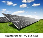 solar panels with blue sky | Shutterstock . vector #97115633