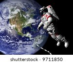spaceman in outer space | Shutterstock . vector #9711850