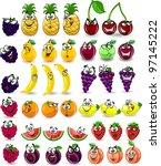 cartoon orange  banana  apples  ... | Shutterstock .eps vector #97145222