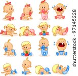 vector illustration of baby... | Shutterstock .eps vector #97145228